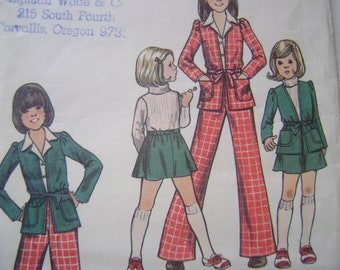 Vintage Butterick Pattern 3314  Girls Jacket  Skirt and Pants  Size  6 UNCUT