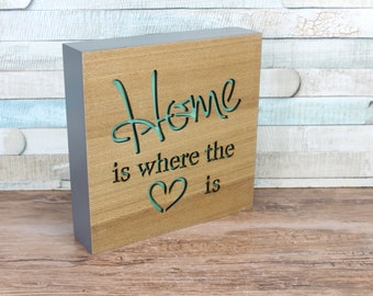 Home Is Where The Heart is Block Plaque Sign