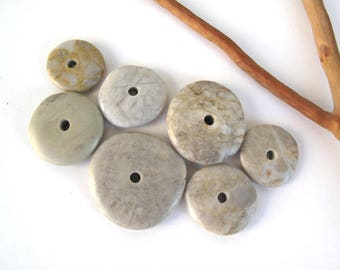 River Stone Cairn Mediterranean Beach Stone Stacks Pebble Rock Donut Beads River Stone Spacers EARTHY WHEELS 18-28 mm