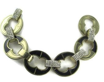 Vintage Chunky Chain Link  Pave Rhinestone Black enamel Gold Tone Bracelet