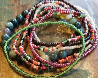 Seed bead bracelet, beaded bracelet, stretch bracelet, beaded jewelry, bracelet set of 8, stretch bracelet set, green bracelet, boho set