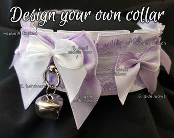 The Amara Collar [Design Your Own] Double Bow Thick Lace Kitten/Pet Play DDLG Collar