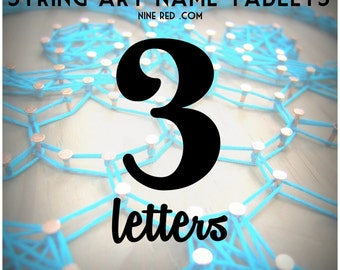 Modern String Art Wooden Tablet - 3 letters