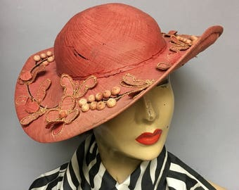 Detailed Vintage 1940's Finely Woven Straw Hat, 40's/ Early 50s WIDE BRIM ROCKABILLY Hat