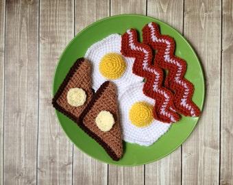 Kid's Play Food Set, Bacon Eggs and Toast Pretend Food