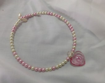 Pink and White Pearl Choker Necklace with Heart pendant