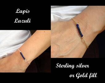 Lapis lazuli bracelet, Sterling silver, Gold fill Lapis Lazuli bracelet, Silver ? Gold bracelet, Gemstone bracelet, Blue stone bracelet