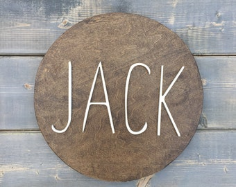 "12"" round name sign, Name Sign, Round Name Sign for Nursery, Round Name Wooden Sign, Nursery Decor"