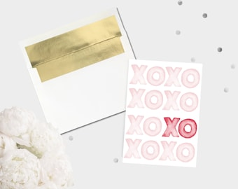 Watercolour XO Valentine's Day Card / Hugs and Kisses Love Greeting Card Modern Valentine For Her All Occasion Card Stationery Pink and Red