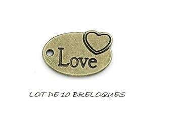 Set of 10 charms pendants oval love heart bronze (A10)