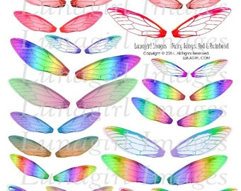 Red and Rainbow FAIRY WINGS! digital collage sheet, Dragonfly wings, faerie wings altered art, fairy wing earrings jewelry ephemera DOWNLOAD