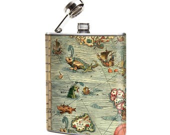 Best Selling Flask, Antique Sea Monsters Map Flask, 6oz Stainless Hip Flask, Narwal Narwhal illustration, Mythical Beasts Map, Bar Accessory