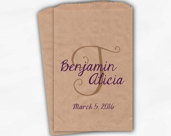 Monogram Personalized Candy Buffet Bags Purple and Beige - Initial and Names Custom Wedding Favor Bags - Paper Treat Bags (0160)