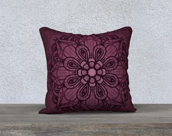 "Burgundy Mandala 18""x18"" Pillow Case"