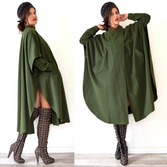 Vintage 70s 80s Military Green Cool Sleeved Wool Cape