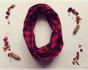 Checkered Loop Scarf in Little Red - Autumn Fall Red and Black Plaid Infinity Scarf, Perfect Holiday Gift and Fall Fashion Accessory