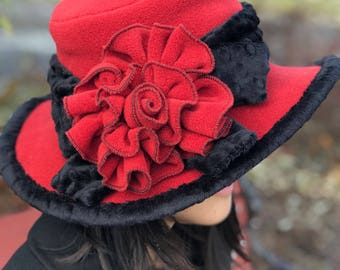 Edwardian Romantic Hat- Polar Fleece - Paprika- Abigail