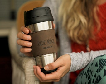 Stainless Steel Engravable Leatherette Travel Mug, Bridal Party Gifts, Customizable Mugs, Promotional Products, Custom Coffee Mug