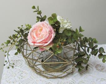 Wedding Centerpiece, Wire Floral Holder, Gold Wire Wedding Centerpiece Frame, Wedding Flower Holder, Party Centerpiece, Modern Floral Vase
