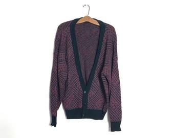 Vintage 80's Sweater Slouchy 90's Sweater Burgundy Cardigan Extra Large Boyfriend Sweater 90's Oversized Sweater Grandpa Sweater XL T