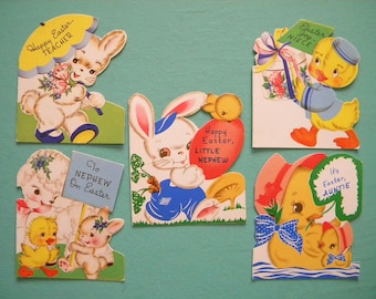 5 Vintage Unused Easter Cards with Envelopes Bunny Chick and Lamb