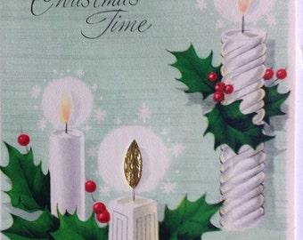 Christmas Card, Unused, Vintage, NOS, Aqua, 1950s