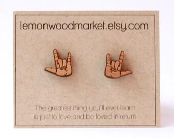 ASL I love you earrings - alder laser cut wood earrings