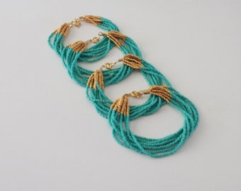 Bridesmaid jewelry, turquoise and gold bracelet, teal bracelets, beaded bracelet,seed bead bracelet, bridesmaid gift, bridal party jewelry