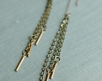 fringe earrings super long made of steel chain metal fringe