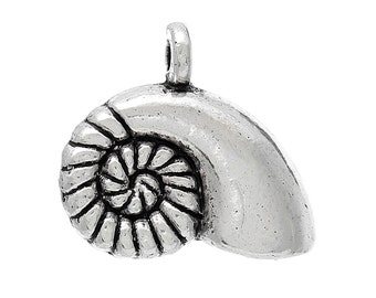 6 Seashell Charms, Antique Silver Tone (1U-28)
