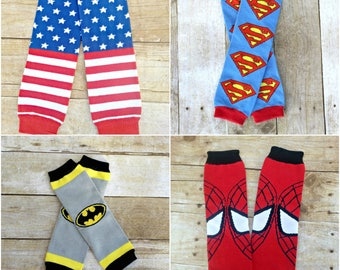 Super heroes Leg warmers, Legwarmers, Wonder woman, Super girl, spiderman, batman One size fits all
