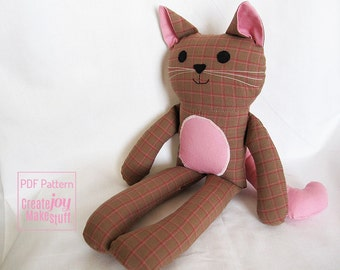 "13"" Cat Doll Sewing Pattern & Tutorial - PDF printable - kitty, girl, boy, cloth, fabric, simple, easy, softie, stuffed, sew, toy, gift"