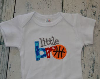 SAMPLE SALE  Little Bro Basketball 0-3 Month , Ready to Ship, Quick Ship  Monogrammed Shirt