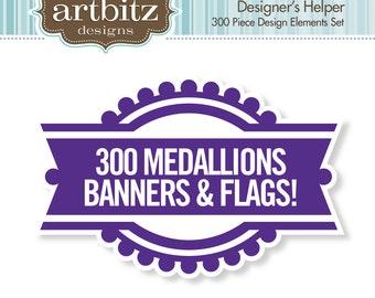 Designer's Helper 300 Piece Medallion, Banner & Flag Kit, Commercial License, No. 17005, .eps, 300 dpi .jpg