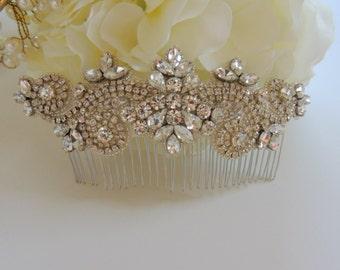 Ready to ship Vintage Inspired Wedding Bridal Crystal Rhinestone Beaded Hair Comb Side Veil Comb