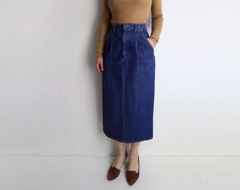 VINTAGE Denim Skirt 1980s Dark Blue Jeans Long Small