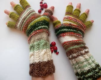 Women Size L 20% OFF Half Fingers Wool OOAK Mittens Ready To Ship Wrist Warmers Men Mohair Unisex Gloves Hand Knitted Gift Striped Arm 1280