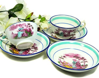 Two Antique Sunderland Polychrome Cups and Saucers Faith Hope and Charity plus Extra Saucer