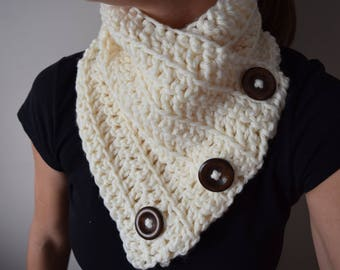 Cream Large Wooden Button Harbour Scarf - Yarn Double Crochet Harbor Scarf