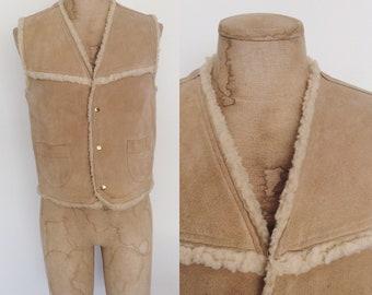 1970's Beige Leather & Faux Shearling Vest Men's Size Medium by Maeberry Vintage