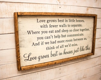 Home Where Friends Meet Family Gathers Love Grows Wood Sign