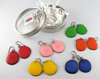 Birthday Fashion Colors 6 Pair Compact Travel Pack Tagua Nut Eco Friendly Earrings with Free USA Shipping #taguanut #ecofriendlyjewelry