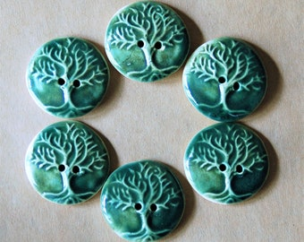 6 Handmade Stoneware Buttons - Tree of Life Buttons in a Deep Moss Green