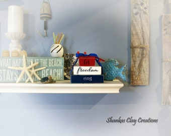 Let Freedom Ring - Wood Shelf Sitters with Polymer Clay Accents