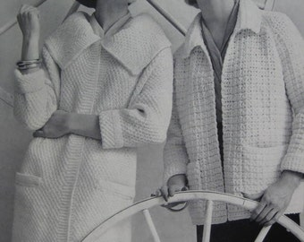 1960's Knit Sweater Coat Pattern, Crochet Coat PDF Pattern - Vintage Patterns 733-28, 733-29