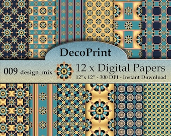 Digital Paper, Abstract Digital Paper Pack, Digital Scrapbooking Pack, Printable Paper, Printable Collage Sheet, Digital Download, 009