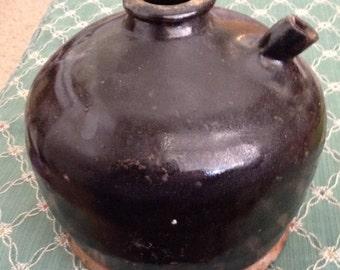 Antique Brown Glazed Oil Crock