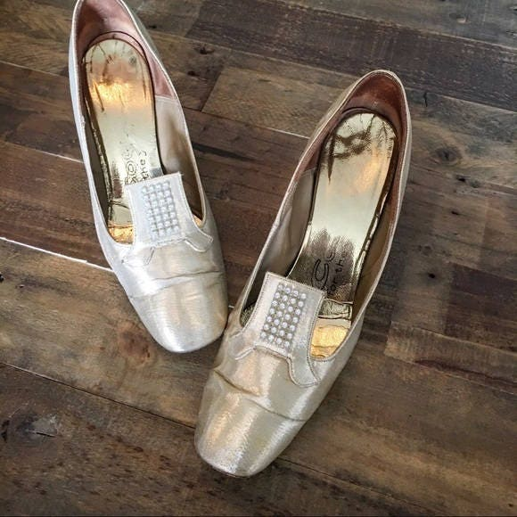 Or Or Talons Vintages Chaussures Strass Pompes AqOFxX