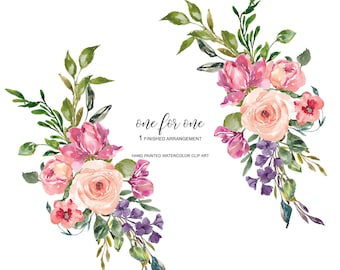 Watercolor Romantic Rose Clipart One Arrangement Hand Painted Pink Roses Wedding Diy PNG Commercial Use | O1