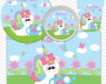 Unicorn Plate, Bowl, Cup, Placemat - Personalized Unicorn Dinnerware for Kids - Custom Tableware